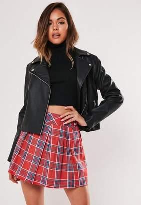 Missguided Petite Red Plaid Pleated Mini Skirt