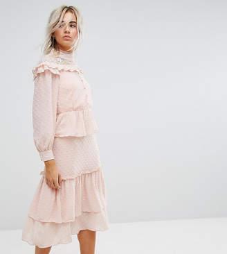 True Decadence Petite Premium Metallic Chiffon Layered Ruffle Midi Dress