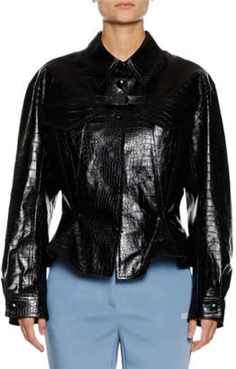 Off-White Embossed Crocodile Peplum Leather Jacket