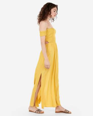 Express Off The Shoulder Smocked Bodice Back Cut-Out Maxi Dress