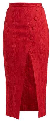 ALEXACHUNG Crinkled High Rise Wrap Crepe Midi Skirt - Womens - Red