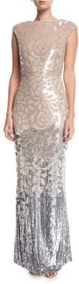 Rachel Gilbert Floral Sequined Cap-Sleeve Gown