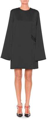 MSGM Satin Long-Sleeve Short Dress w/ Chain
