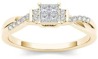 Imperial Diamond Imperial 1/4 Carat T.W. Diamond Criss-Cross Shank Cluster 10kt Yellow Gold Engagement Ring