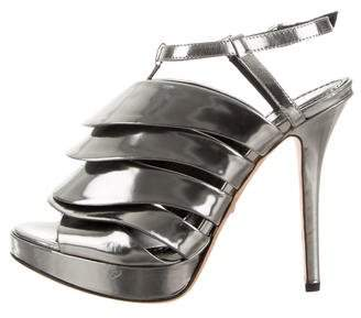 Jerome C. Rousseau Metallic Cage Sandals