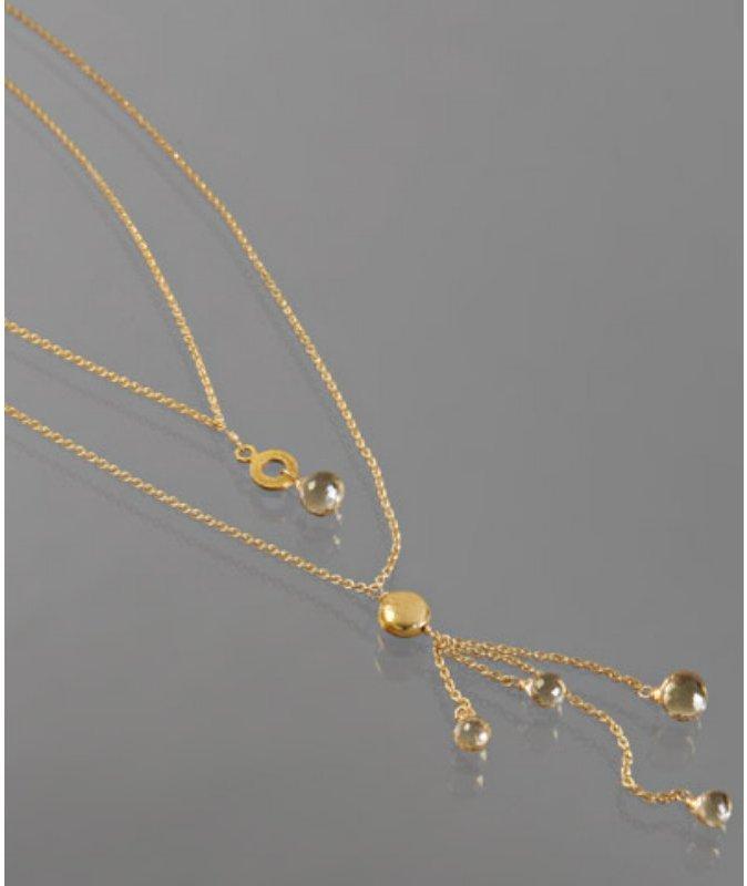Nancy Cohen champagne citrine double layered fringe necklace