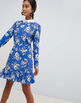 Asos Design DESIGN mini skater dress with long sleeves and collar in floral print