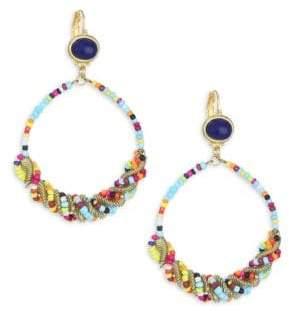Kenneth Jay Lane Seed Bead Gypsy Hoop Earrings