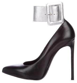 Saint Laurent Leather Ankle Strap Pumps