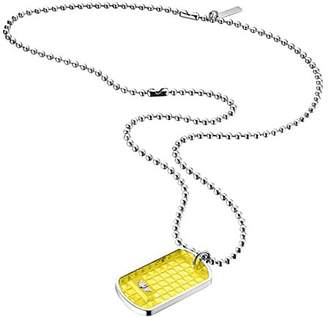 "Police STRIP"" Rectangular Shape Transparent Plastic Pendant Necklace"