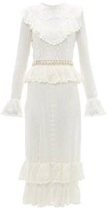 Zimmermann Allia Shell Belt Cotton Crochet Midi Dress - Womens - White