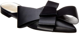 DELPOZO Bow Leather Flat Mule