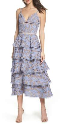 Lee SAU Camellia Lace Tiered Midi Dress