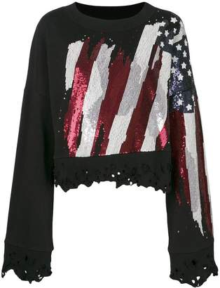 Amen distressed flag embellished sweatshirt