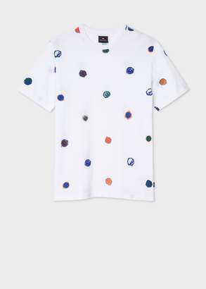 Paul Smith Men's White 'Scribble Dot' Print Cotton T-Shirt
