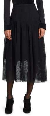 Akris Punto Pleated Net Midi Skirt