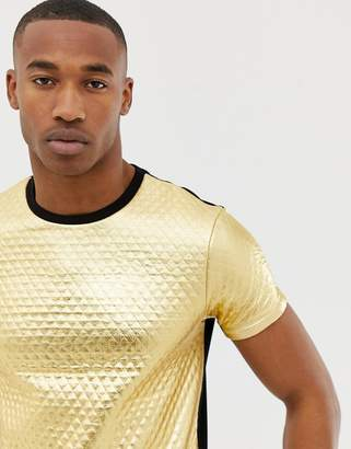 Asos Design DESIGN t-shirt in quilted gold metallic