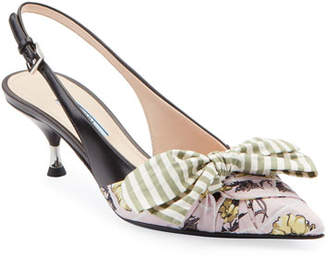 a1d2a6366a3a7 Prada Fabric & Leather Kitten-Heel Slingback Pumps with Bow