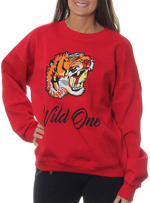 Asstd National Brand Freeze Juniors' Tiger Roaring Wild One Vintage Graphic Sweatshirt with Embroidered Patch