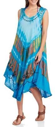 IN GEAR Women's Swim Tie Dye Umbrella Cover-Up Dress