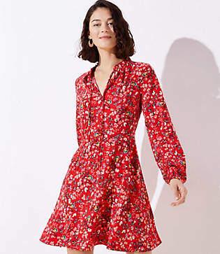 LOFT Petite Primrose Tie Neck Flare Dress