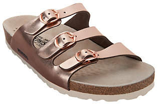 Mephisto Leather Triple-Strap Slides - Nolene