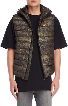 Golden Equation Khaki Hunting Print Quilted Vest