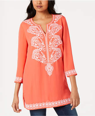 Charter Club Embroidered Split-Neck Tunic