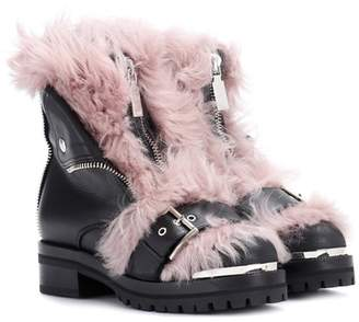 Alexander McQueen Leather and shearling ankle boots
