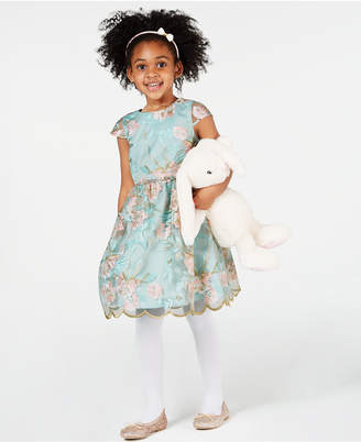 Rare Editions Little Girls Floral Embroidered Dress