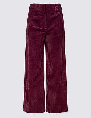 M&S Collection Corduroy High Waist Cropped Trousers