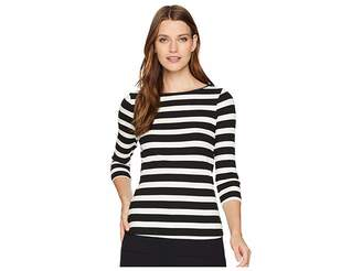 Three Dots Alpine Stripe 3/4 Sleeve Top w/ Shell Stitch