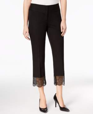 Alfani Lace-Hem Tummy-Control Ankle Pants, Created for Macy's