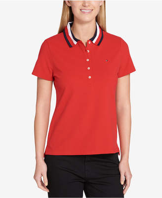 Tommy Hilfiger Striped-Collar Polo Top