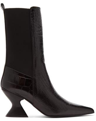 Marques Almeida Marques'almeida - Hourglass Heel Leather Chelsea Boots - Womens - Black