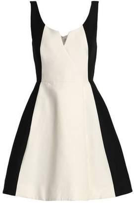 Halston Two-Tone Cotton And Silk-Blend Mini Dress