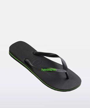 Havaianas Rubber Logo Black Neon Green Thong