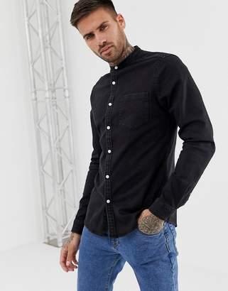 Asos Design DESIGN stretch slim denim shirt in black with grandad collar