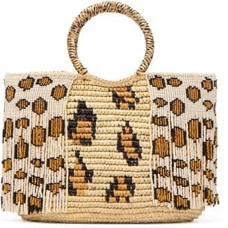 Sensi STUDIO Leopard bead-embellished toquilla-straw tote