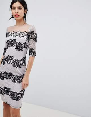Little Mistress Bodycon Dress In Two Tone Lace Stripe