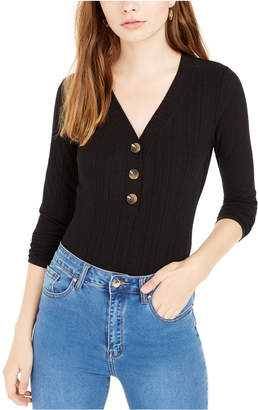 Hippie Rose Juniors' Rib-Knit Henley Bodysuit