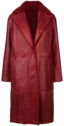 Yves Salomon leather mid-length coat
