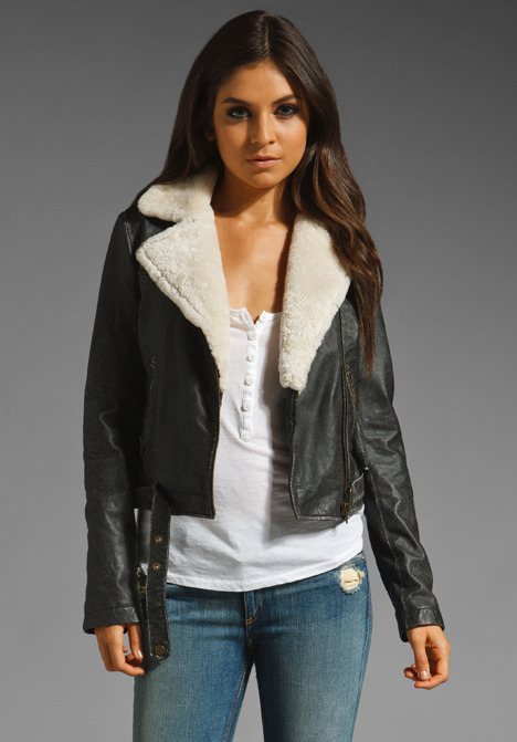Current/Elliott The Shearling Leather Biker Jacket