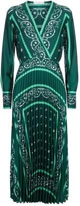 Sandro Paisley Pleated Midi Dress