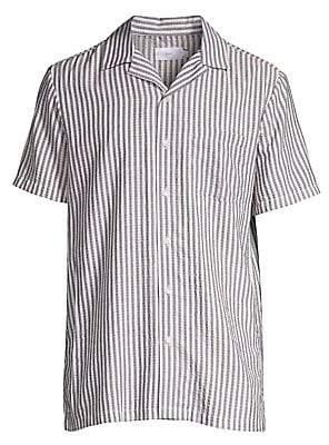Onia Men's Vacation Stripe Short Sleeve Sport Shirt