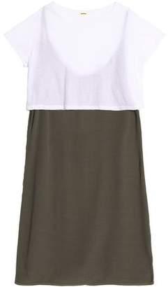Monrow Layered Cotton-Jersey And Crepe Mini Dress