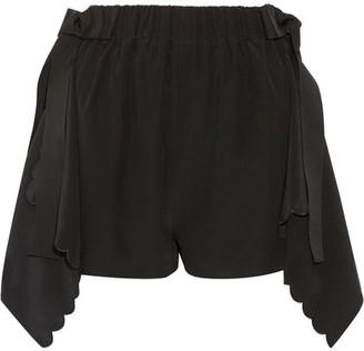 Fendi - Scalloped Draped Silk Crepe De Chine Shorts - Black $1,250 thestylecure.com