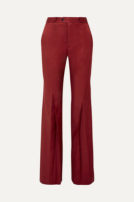 Acne Studios Tohny Pleated Satin-twill Flared Pants - Burgundy