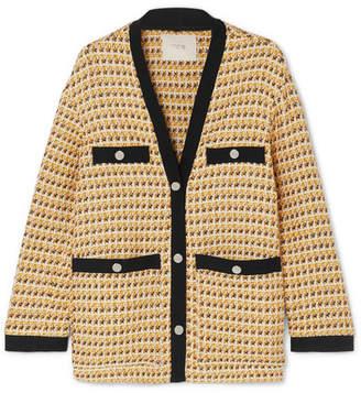 Maje Metallic Cotton-blend Tweed Jacket - Yellow