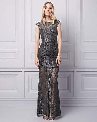 Le Château Sequin & Lace Crew Neck Gown